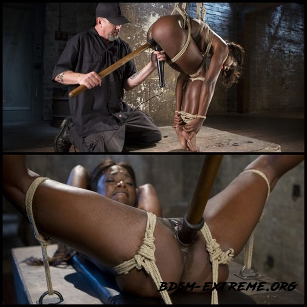 Stunning Ebony Slut in Brutal Bondage and Tormented (2016/HD)
