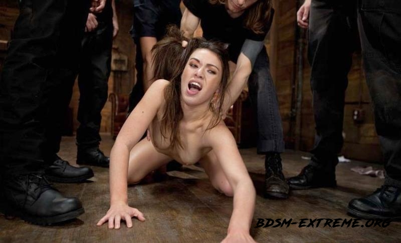 Gorgeous French Girl Taken Down in Rough Gangbang With Tiffany Doll (2012/HD) [BoundGangBangs]