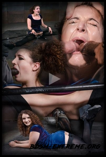 Curly haired newbie Endza bound into the splits and facefucked by BBC, drooling orgasms (2020/HD)